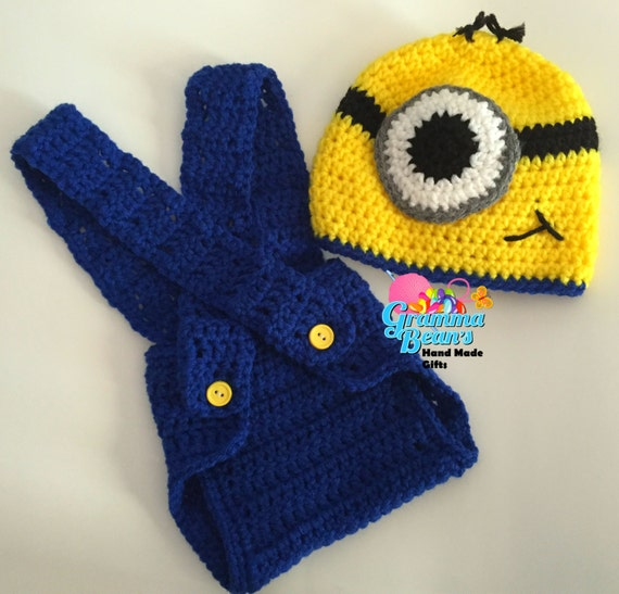 Free Crochet Pattern Minion Beanie : Crochet Minion Beanie and Diaper Cover pattern