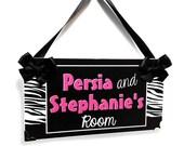 custom twins / sisters bedroom  door sign - zebra print with hot pink plaque - P531