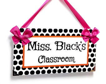 personalized teacher name classroom door sign simple design black white polka dots orange trim - P477