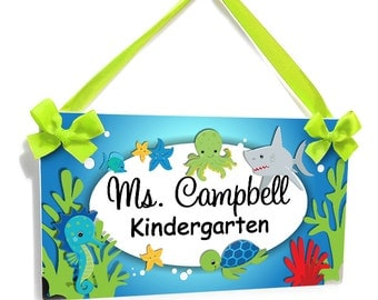 custom ocean themed teachers classroom door sign - sea animals wall plaque - P266