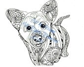 Corgi Puppy - Love Dogs - Digital PDF Download - Coloring Books for Adults
