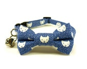 Cat / Small Dog Bow Tie Collar, Cats in Blue / Cats in Punch