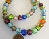 Destash - 40 Murano glass silver foil beads