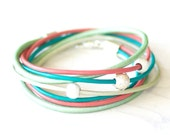 Leather Wrap Bracelet -  Coral Pink, Teal and Mint Leather Wrap Bracelet- Gift For Her