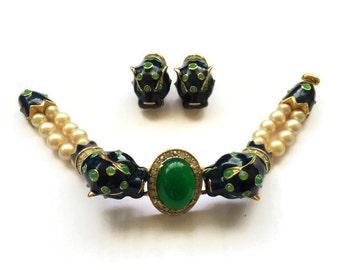 Vintage Joseph Mazer Blue Leopard Pearl Bracelet and Earrings Set