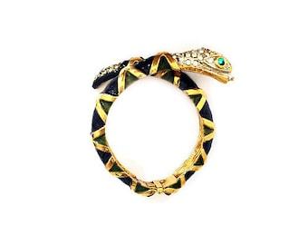 Vintage Kenneth Jay Lane K.J.L. Jeweled Enamel Snake Bracelet