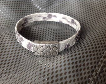 Exotic Leather Cuff Bracelet in Shades of Gray with Silver Snake Magnetic Clasp