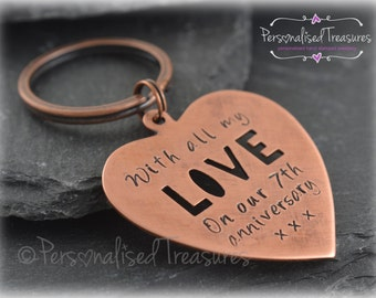 Personalized Copper Heart Key Ring. Solid copper-great for 7th wedding anniversary. Hand stamped with your own text.