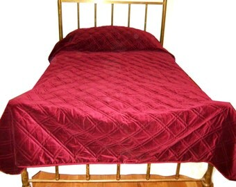 Velvet Burgundy Red Diamond Quilted King Bedspread French Country Farmhouse Vintage 1994 Velveteen Victorian Edwardian Hollywood Regency