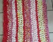 Crochet Rag Rug Pink Lollipops & Sunshine Artisan Cottage Chic Eco Friendly Kitchen Dorm Nursery Bathroom Bath Mat Pets Cat Dog