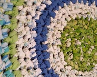 Artisan Crochet Rag Rug Cottage Shabby Chic Blue Meets Green Gypsy Textile Art Eco Friendly Round Nursery Kitchen Pet Dorm Baby Shower Gift