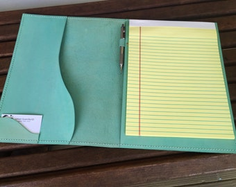 Teal Leather Legal Pad Portfolio* Legal Pad* Legal Pad Cover* Leather Portfoio* Business Writing Pad* Handmade in the USA