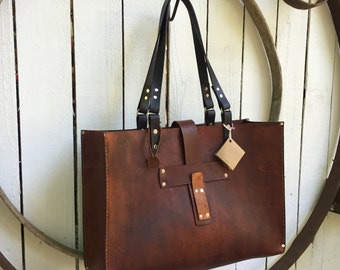 Leather Tote* Oak Saddle Tote* Leather Handbag* Hobo Bag* Market Bag* Handmade in the USA