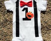 ELMO Baby Boy Bow Tie Bodysuit with Suspenders - Birthday, Photo Prop, Elmo, Sesame Street, 1st Birthday, Boys Birthday