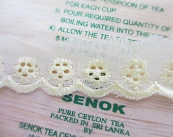 5 Yards New Lace Trim Embroidered Eyelet Light Yellow Cotton Lace with Scallop Edge - 24 mm Wide