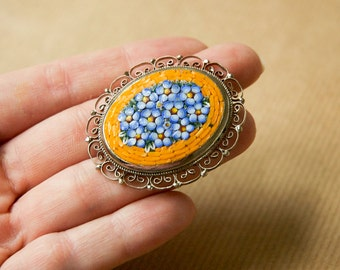 Micro Mosaic Brooch Flowers Silver Tone Signed Italy Orange Blue