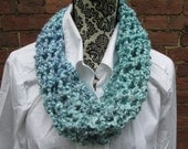 Infinity Scarf Crochet Cowl Acrylic Washable Colorful Warm Soft Handmade Adjustable Lavender Teal Blue