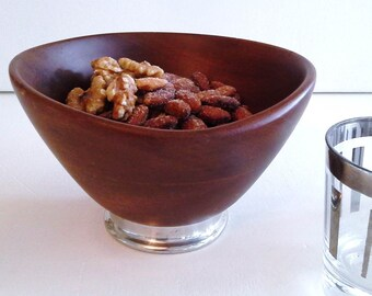 Vintage Hand turned Genuine Mahogany Bowl - Danish Style
