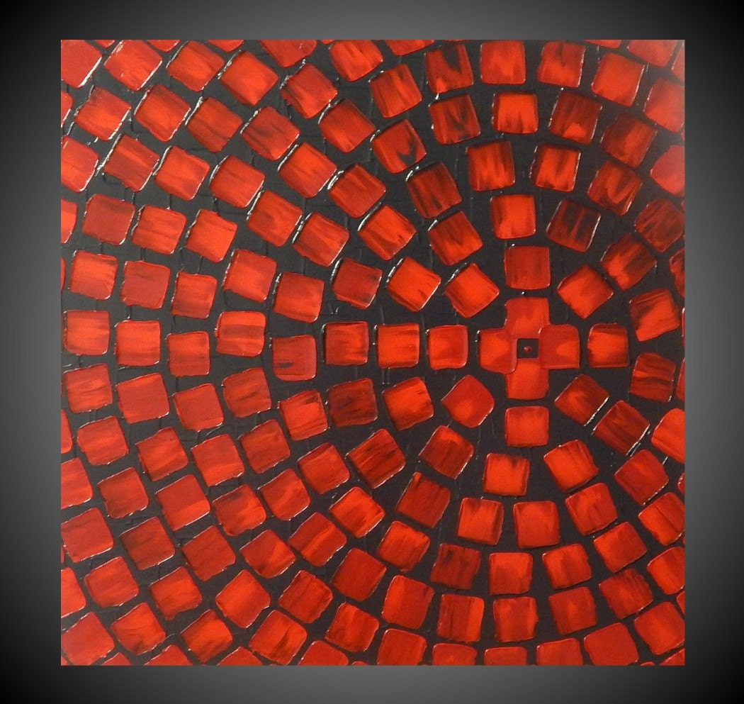 Red and grey painting on canvas wall art abstract acrylic for Wall artwork paintings