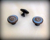 Polymer Clay Blue, Brown Swirl Cabinet/Drawer Knobs/Pulls on Rubbed Bronze Rounds