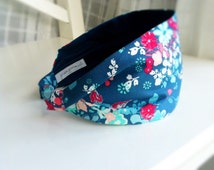 Fabric Headbands for Women - Flower head band women's Hairband - Wide Comfy No Slip hair bands for short hair blue nouvelle