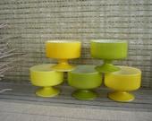 Set of 5 Vintage Fire King Sorbet Bowls, Retro Glass Pedestal Bowls< Lemon Lime Colours