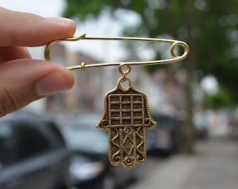 Protective Amulet Safety pin brooch Hamsa