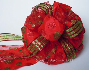 Red Green Christmas Tree Bow Red Green Plaid Tree Topper Bow Red Lime Polka dots Christmas Tree Bow Christmas Wreath Bow Topper Gift Bow
