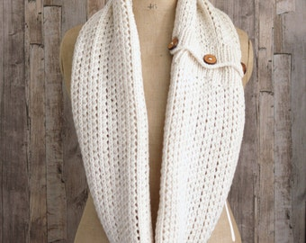 Easy KNITTING PATTERN Tutorial  for Chunky Rib Mesh Infinity Scarf Cowl PDF file instant download Beginner knit
