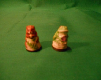 Two (2), Porcelain, Friends of the Forest, Thimbles, from Franklin Mint. Green Frog and Chipmunk.