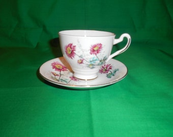 One (1), Bone China, Footed Tea Cup and Saucer, from Lefton China, in a Floral Pattern.
