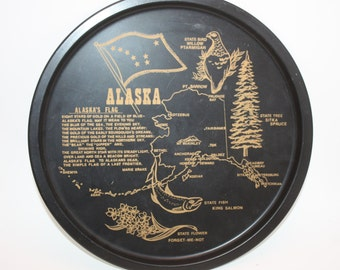 Vintage State Of Alaska Black Tin Souvenir Serving Bar Tray Collectible, Excellent Condition, Features State Map and Points Of Interest