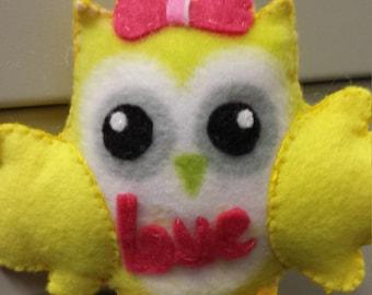 Owl Ornament-Soft-Cute - made with eco - felt and Fleece