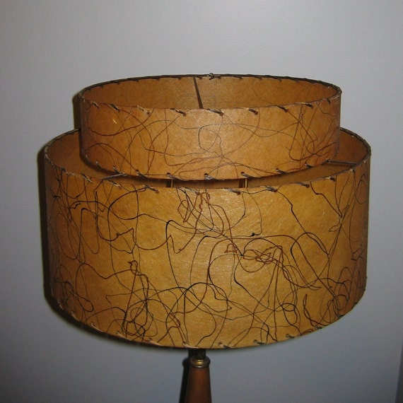 Harp Bar Lamp: Vintage Mid Century Two-Tier Lamp Shade Parchment Double