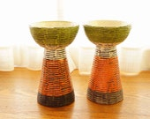 Artsy Candle Holders by Rosenthal Netter -- Lovely Handmade Pottery Made in Italy -- Classy Mid Century Home Decor