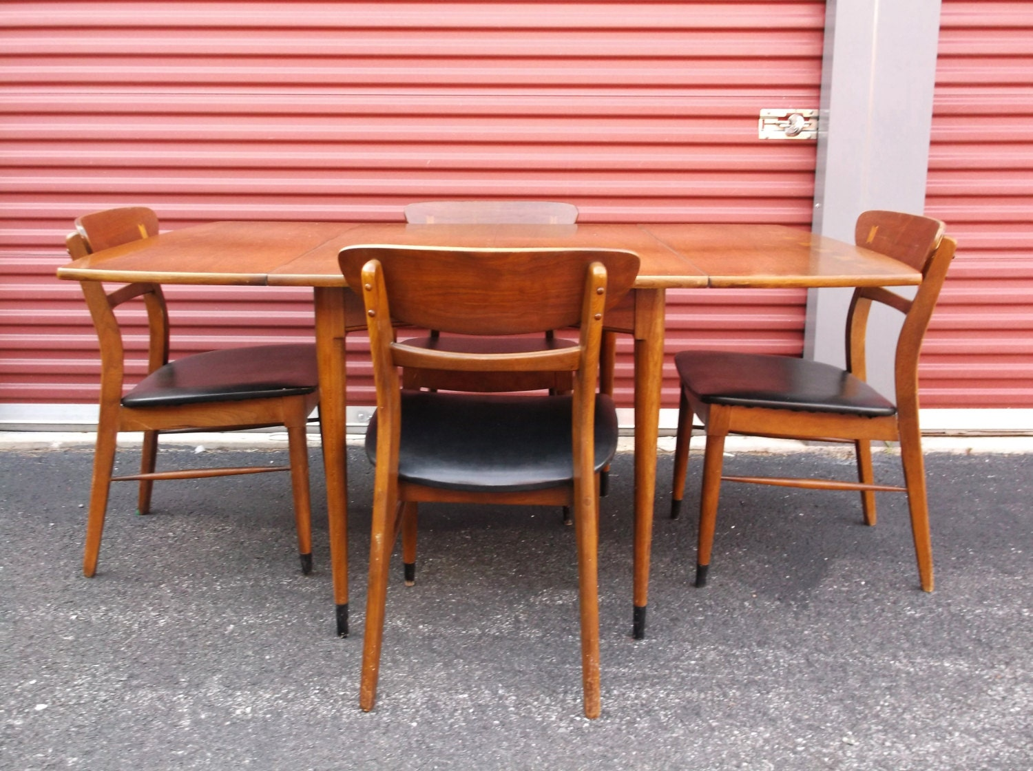 dining set drop leaf table 4 chairs danish modern furniture room