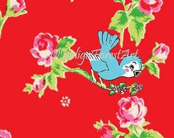 Little Vintage Floral Blue Bird 8x10 Print