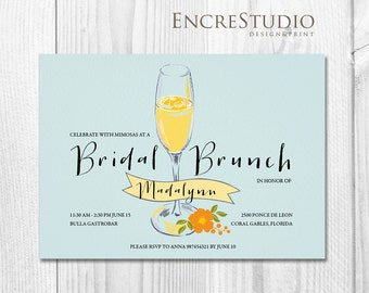 Printable Bridal Shower Invitation - Mimosa Bridal Shower