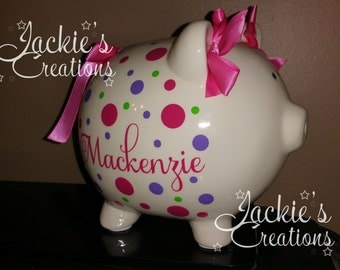 Personalized Piggy Bank/ Custom Piggy Bank/ Baby Shower Gift