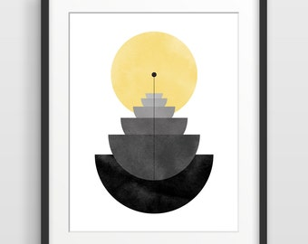 Abstract Art Print, Geometric Art, Mid Century Modern Art, Abstract Watercolor, Minimalist Wall Art