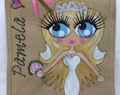 Handpainted Personalised Bride to Be Jute Handbag Gift Bag Hen Party Celebrity Style