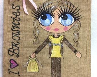 Handpainted Personalised Brownies Brownie Guide Jute Handbag Gift Present Celebrity Style Bag
