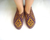 Purple and yellow Traditional Turkish Hand Knit Slippers Socks for men and women, home shoes, knitted womens Socks Slippers
