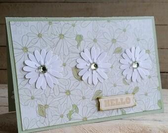 Hello Triple Daisies Handmade Greeting Card 4x6