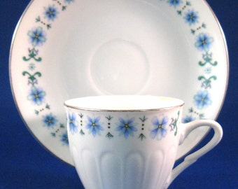 Retro Floral Cup And Saucer Demi Blue Flowers Platinum Trim China 1960s Mid Century