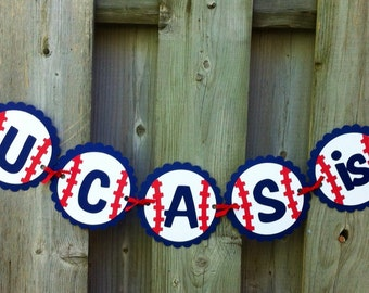 personalize baseball sports theme name and age banner baseball birthday party party decorations