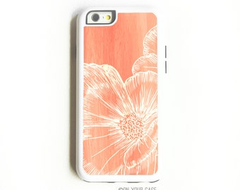iPhone 6 Tough Case. iPhone 6 Cases. Floral Coral Poppy. Phone Case. iPhone Case. Case for iPhone 6. Floral Phone Case.
