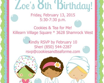 Spa Girls Party invitation