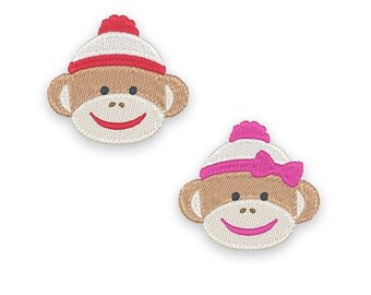Mini Sock Monkey Embroidery Design Set - Instant Download
