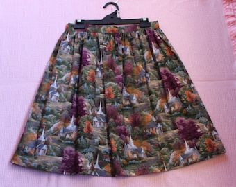 Cotton, Retro 60's style skirt, gathered onto a waistband with elastic in back waistband for easy fit
